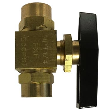 "Panel Mount 1/4"" Fip Brass Ball Valve 46832  1500psi"