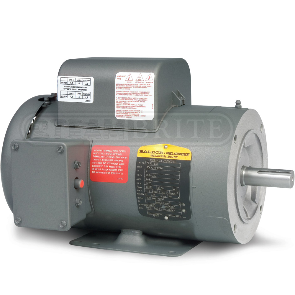 Baldor Motor PCL3515M 2.0Hp Single-Phase 3450 RPM 56C Frame - 115/230 Volts 8.8 Amps