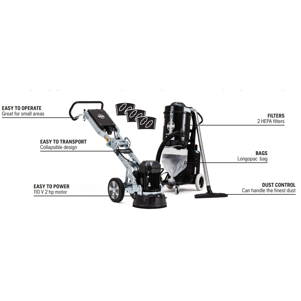 Husqvarna HTC PG280 Grinder Vacuum Diamond Segment Bundle [Promotion-EOSP21] Freight Included
