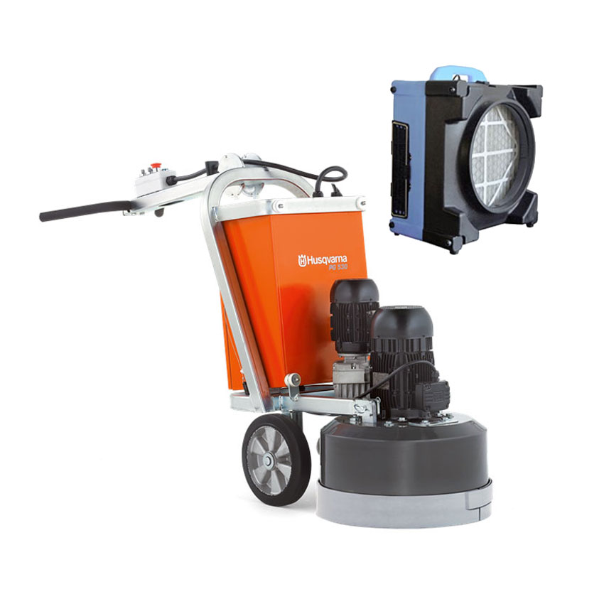 Husqvarna PG530 Concrete Floor Grinder 480v 3 Phase 5Hp 21 Inch 965195821 PG 530 Air Scruber Bundle Freight Included