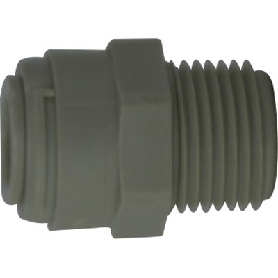Plastic Polypropylene 1/4 Male Pipe X 3/8 OD Push In Connector 20058P