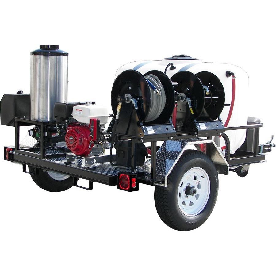 -Trailer Truck Mount 28Hp 4000psi HOT 4gpm Goliath 15HG Vacuum TM28-340 CFM Pressure Pro Hot Shot Tow Pro TRS4012-40HA 200 gal Tank Pressure Washer Cash Priced