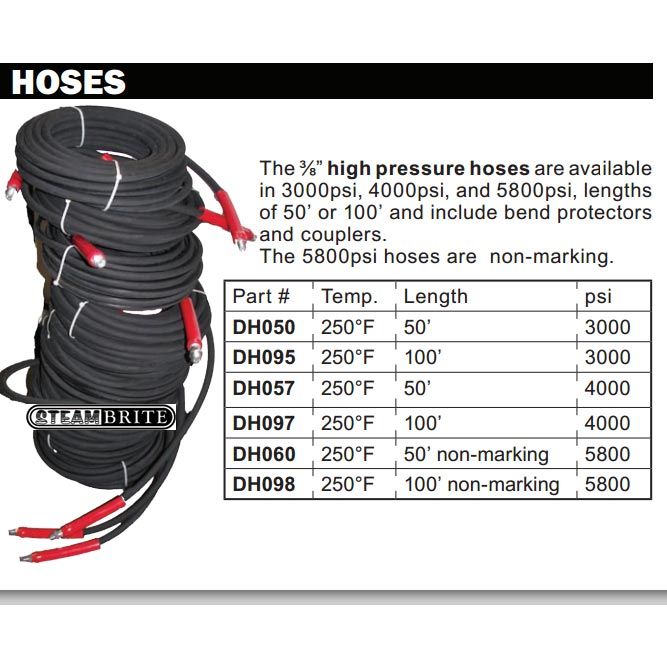 Hydrotek DH097 Pressure Washer Hose 100 ft 3/8in ID Single Wire QDs 4000 psi 250 degree
