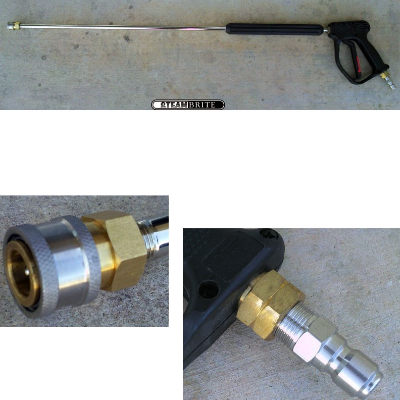 Pressure Wash Assembly 4000 psi Gun 36 Inch Insulated Lance Male QD Plug and Female Jet QD