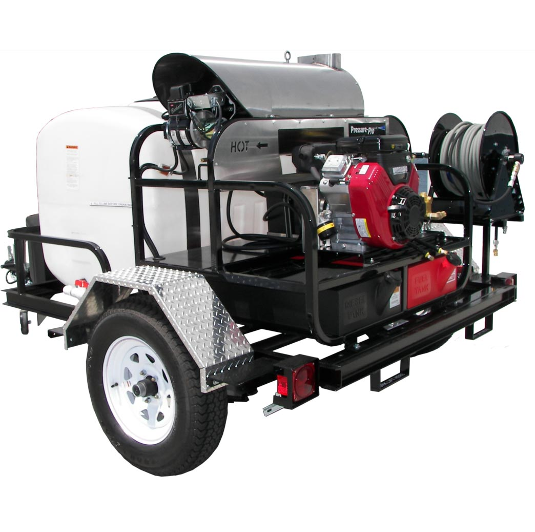 Pressure Pro TR4012PRO-40HG Plus TR200PS-2HR 4gpm 4000 PSI Honda GX390 Hot Water With General  Pump Trailer (Discount Shipping)
