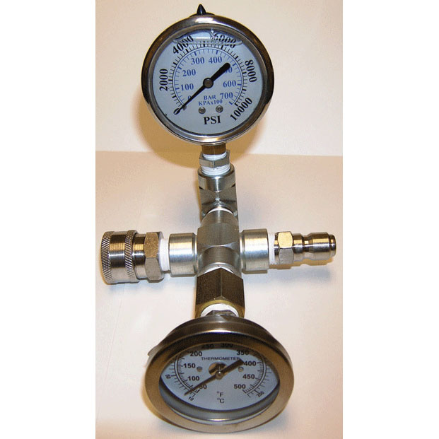 Shark Pressure Washer Temperature and 10000 psi Pressure Gauge With QD attached