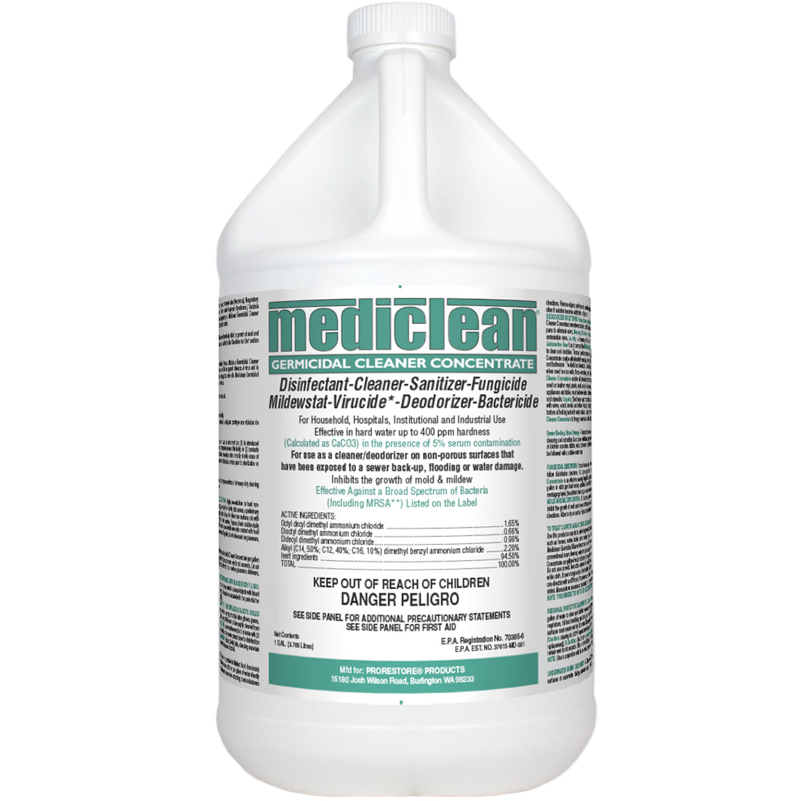 ProRestore Mediclean (Formally Microban QGC) Germicidal Cleaner Concentrate MINT 1 Gallon Chemspec 221592905-1  A19968  In Stock