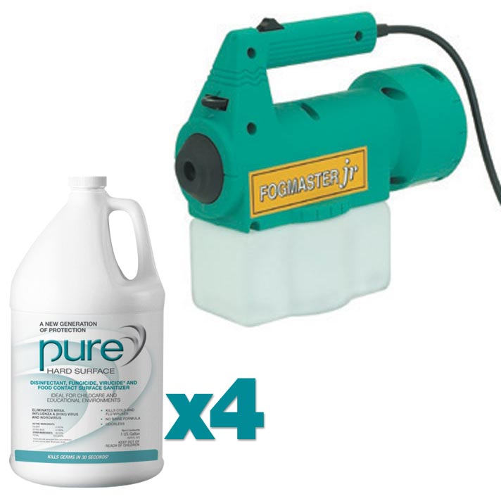 Foggmaster Jr and Case of Pure Hard Surface Disinfectant