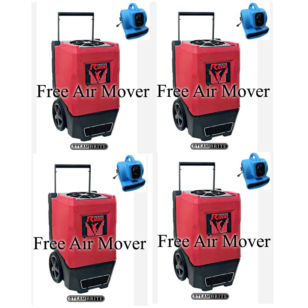 Phoenix R200 Industrial Restoration Dehumidifiers 4 Pack FREE Shipping FREE Air Movers