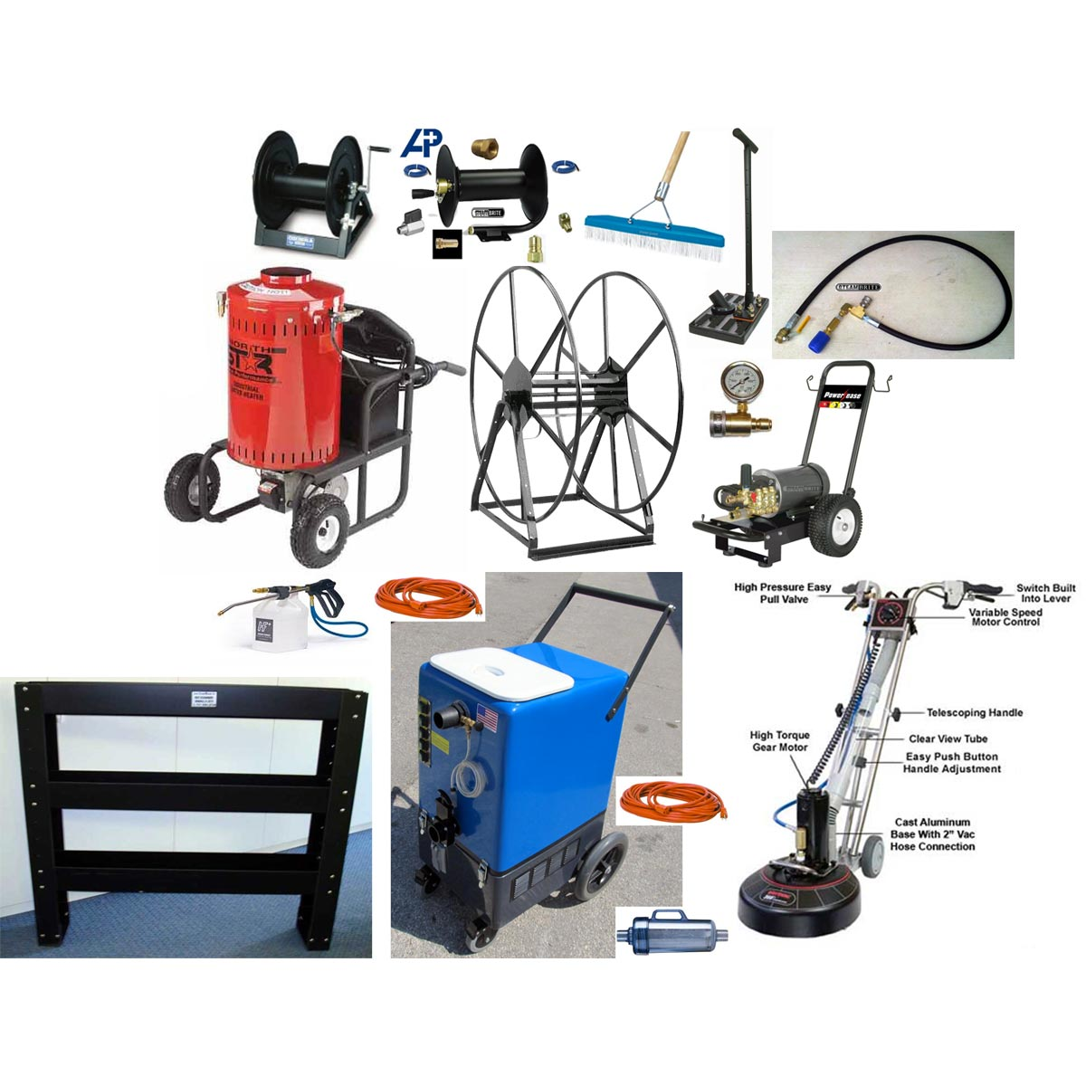 -ETM Electric Truckmount Trailer Package Goliath 1500psi HEATED Flood Pumper 26gal Four 2 Stage Vacs and Pressure Washer Recovery 120v with Lint Filtration