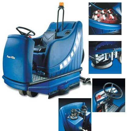"PowrFlite PAS40R: 40"" Battery Powered Automatic Scrubber"