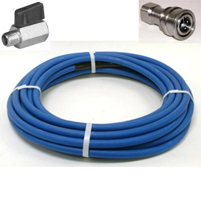 Clean Storm 160 ft 1/4 in ID 3000psi Solution Hose w/ Stainless Steel QD and Ball Valve shut off for Truckmounts HP150