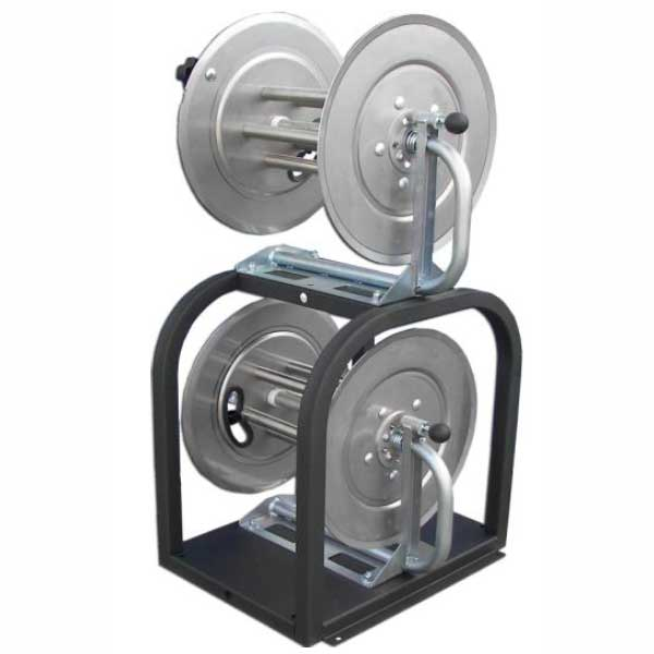 Hydrotek AR325 Dual Stacked Pressure washing hose reels One 5000 psi reel One inlet garden hose reel Discount Shipping