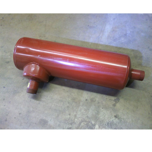 Stoddard D33H-2.5 Truck Mount Silencer- 2.5 inch Male Pipe Ends  Discharge Silencer on a 90 degree 74B804