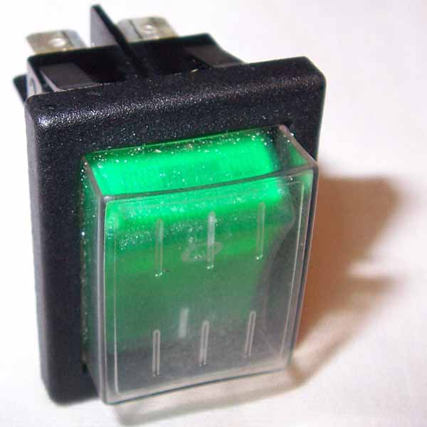 32-900195 Rocker Switch 2 Position On/Off - 4 pinned Mytee E515  Sandia Plastic 10-0803 (usually green)