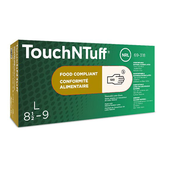 Ansell Limited ANSELL ANS69318L TouchNTuff Premium Latex Disposable Gloves Large 100-box 076490456542 (ships after May 26 2020)