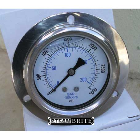 Truckmount water pressure gauge 3000 psi panel mount A109 20130314 with Front Flange 2.5in Mounting Hole