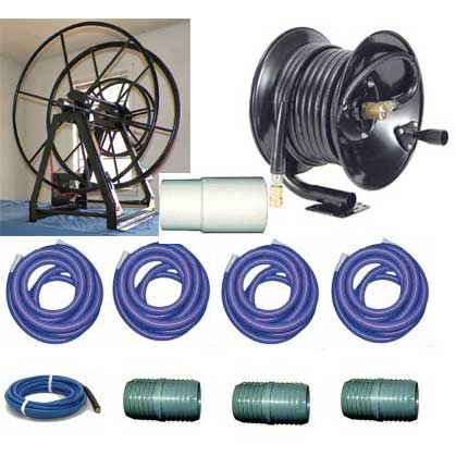Clean Storm Triple 200' Live Electric Vacuum Hose Reel Package with 165 ft Hoses Plus Connecton Hoses for Truckmounts