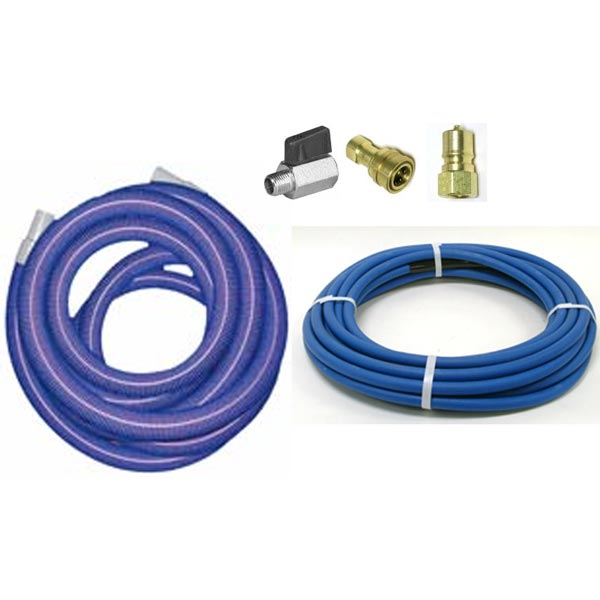 -Clean Storm Hose Set 25ft  x 2.0in Vacuum and 1/4in Solution with QD and Ball valve installed 8101
