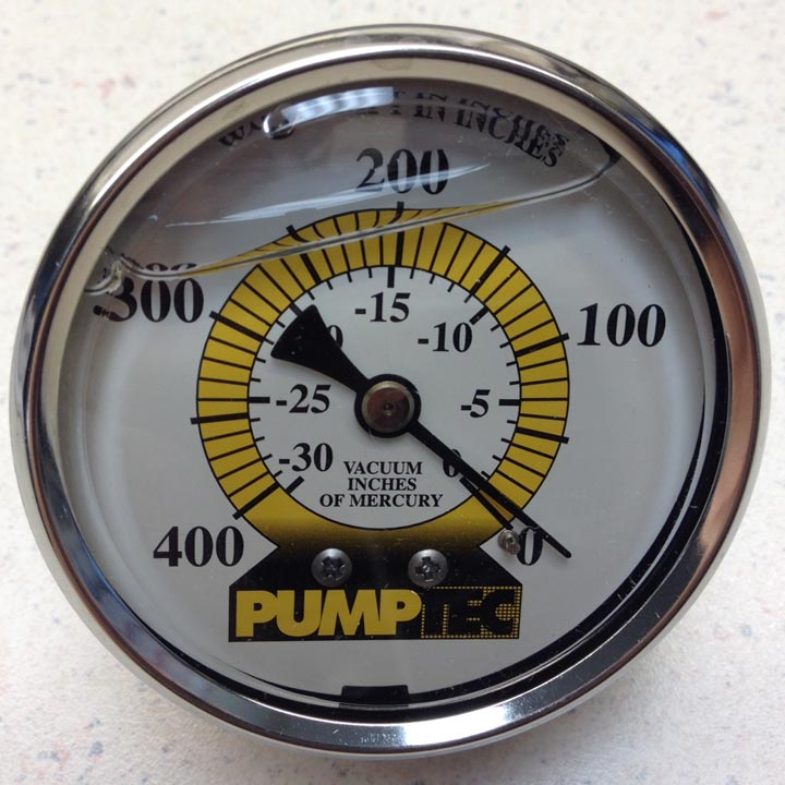 "Vacuum Gauge 2-1/2 Inch Glycerin Filled Panel Mount 1/4""Mip Back Connection 30106"