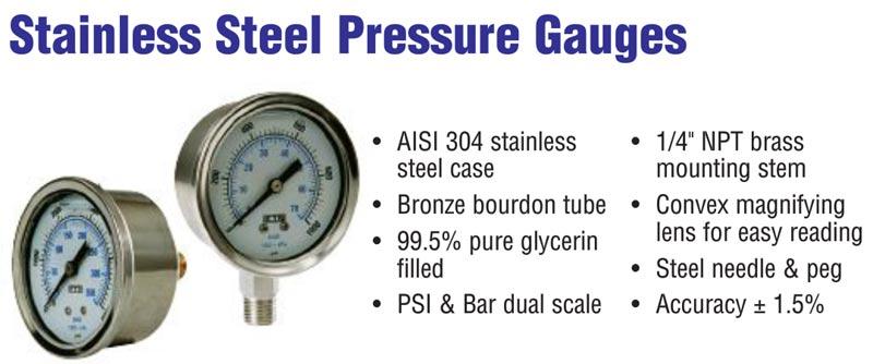 200 psi pressure gauge