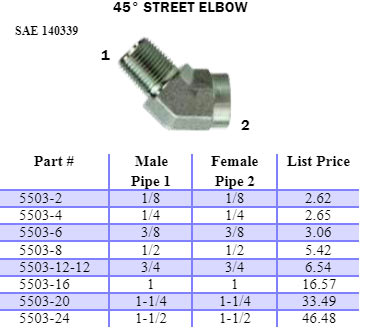 45 degree steel street elbow fitting