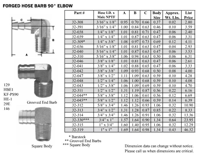 Brass elbow hose barb by pipe thread