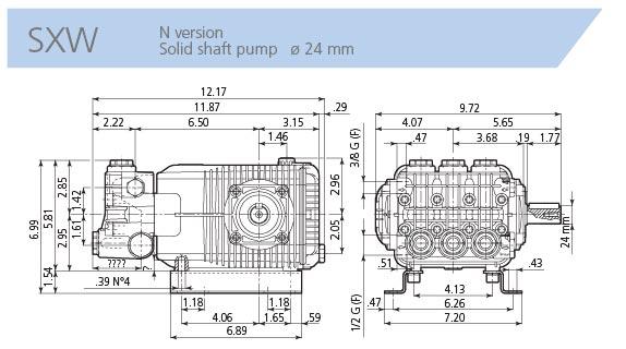 AR Pump SXW21.350N 5.55 gpm 5100 psi 1450 rpm Industrial Pressure Washer  Replacement Triplex Plunger Pump