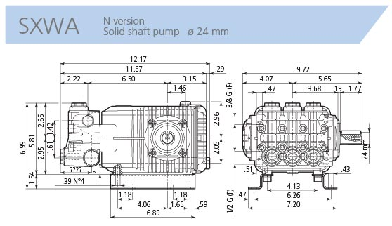 AR Pump SXWA7G50N 4 gpm 5000 psi 1750 rpm Industrial Pressure Washer  Replacement Triplex Plunger Pump