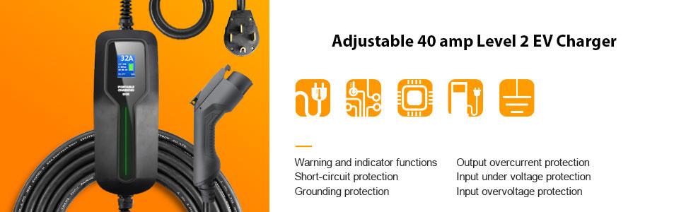 Adjustable level 2 40 amp car charger