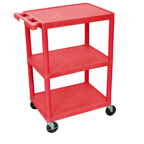 "HE34 Three Shelf Utility Cart  The HE34 is a large three shelf utility cart with 4"" swivel casters. 34"" high with 12"" clearance between shelves. Wt. 27 lbs.      Lifetime warranty - Molded shelves and legs will never scratch, dent, or rust     Strong heavy-duty, high-density polyethylene constructions     Integral push handle is molded into top shelf     Quiet easy-rolling casters     400 lbs. weight capacity     Available with 8"" big wheels and caster bumpers"
