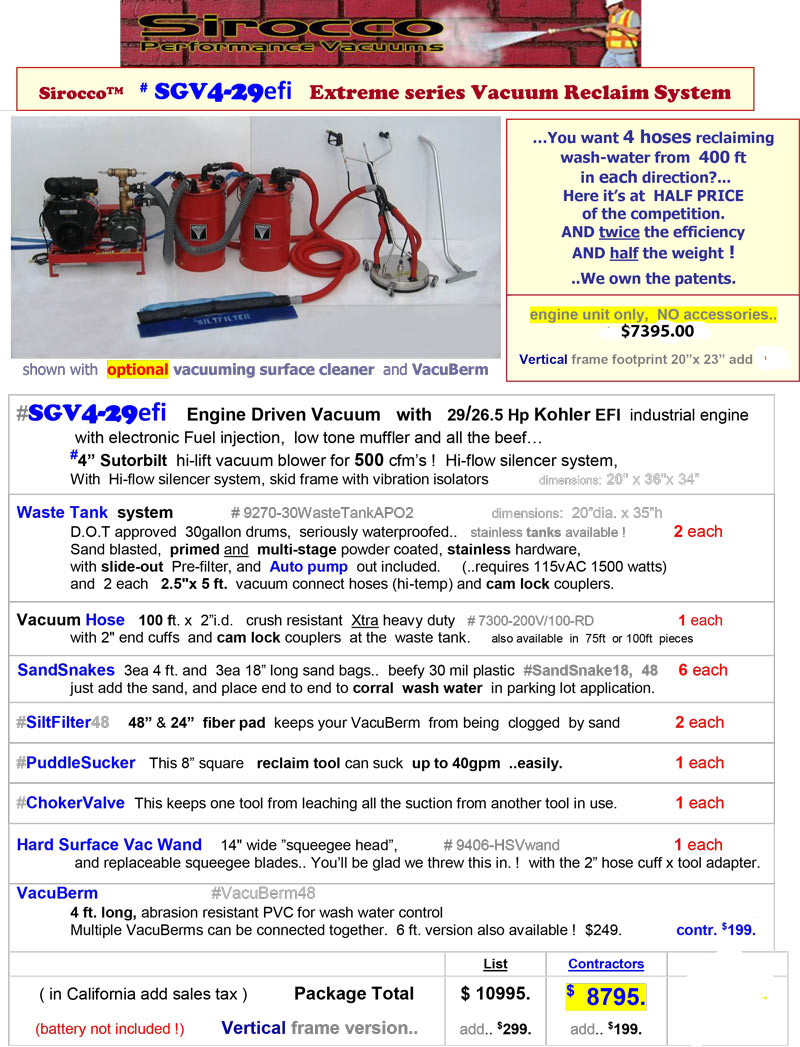 pressure washer vacuum recovery Sirocco SGV4-29efi