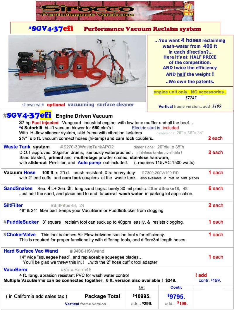 Sirocco SGV4-37efi pressure washing vacuum recovery