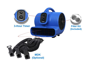 The 430MDK easily attaches to 430 Air Movers and allows air flow to be directed in three different directions