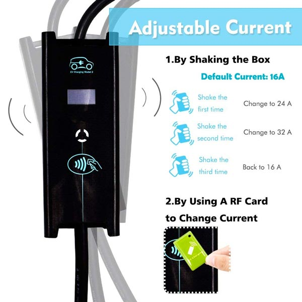 Adjustable electric car charger level 2  32 amp