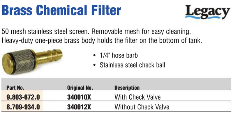 chemical injection strainer filter for truckmount and pressure washers