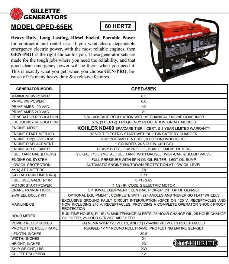 gillette diesel generator heavy duty