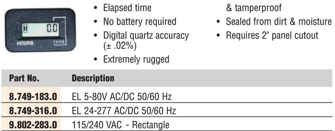 Digital Hour Meter 120 Volts El 24-277 Ac Dc 50 60 Hz - 8
