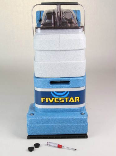 The amazing FiveStar™ is a small, self-contained unit with powerful brush agitation to clean carpets — small enough to clean tight spaces and corners, yet powerful enough to perform well in any commercial setting. It weighs only 40 pounds so it's light enough for anyone to handle, plus the compact body design and fully adjustable handle make it a breeze to transport and store.             Features:                    Patented self-adjusting, self-leveling brush and vacuum shoe for easy cleaning of all carpet lengths, plus longer brush life.     Full complement of accessories attaches to back of unit for cleaning upholstery, stairs, etc.     Handle adjusts to operator height and folds down for easy storage.     Patented lift-off bucket with bladder makes filling and emptying incredibly easy.     See-through recovery dome.     Side extension for cleaning right to baseboards.     Upright-mounted motor and intercooler system combine for long-lasting operation.     Remove two screws and the machine opens like a clamshell for fast service
