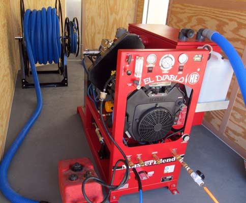 ... trailer with optional hose reel heat exchanger truckmount trailer and masterblend truckmount. Install your new MasterBlend El Diablo Truckmount
