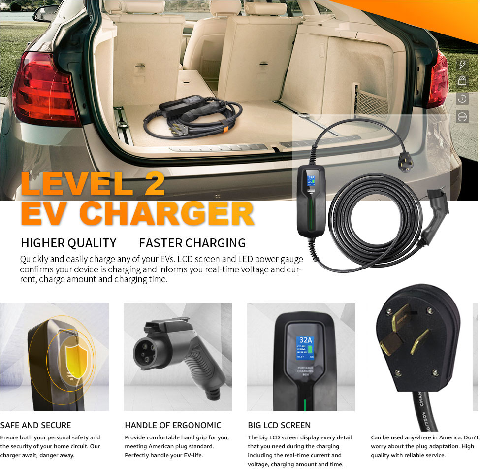 40 amp adjustable charging ev cable electric car charger