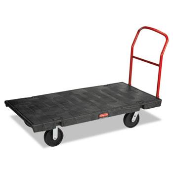 black heavyduty platform truck wpolyolefin casters crossbar handle - Rubbermaid Utility Cart