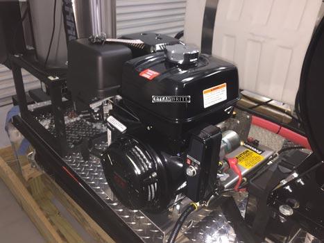 honda gx390 4 gpm 4000 psi pressure washer skid installed on a trailer