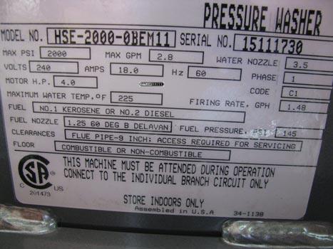 HHE-2000-OBEM11 hot pressure washer