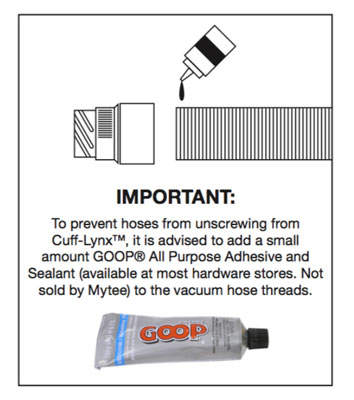 how to glue mytee hose lynx to vacuum hose