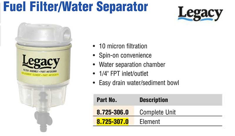 pressure washer burner fuel filter with water seperator