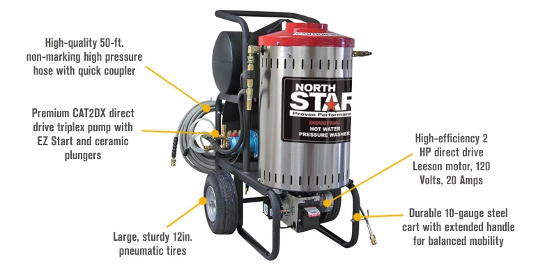Northstar Electric Wet Steam Amp Hot Water Pressure Washer 2000 Psi 1 5 Gpm 120 Volt 157307 Free