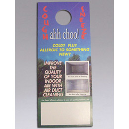 Nikro 860439 Door Knob Hangers Achoo Ideal for canvassing targeted neighborhoods. Lets potential customers know who to call to improve the quality of their indoor air.