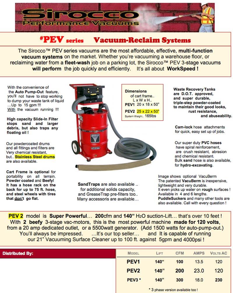 sirocco pev2 pressure washing vacuum system