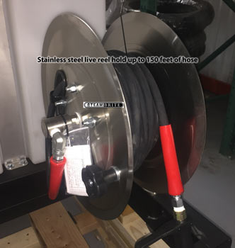 live stainless steel solution hose pressure washing reel